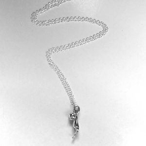 Jewelry - Sterling silver dangle kitty with chain